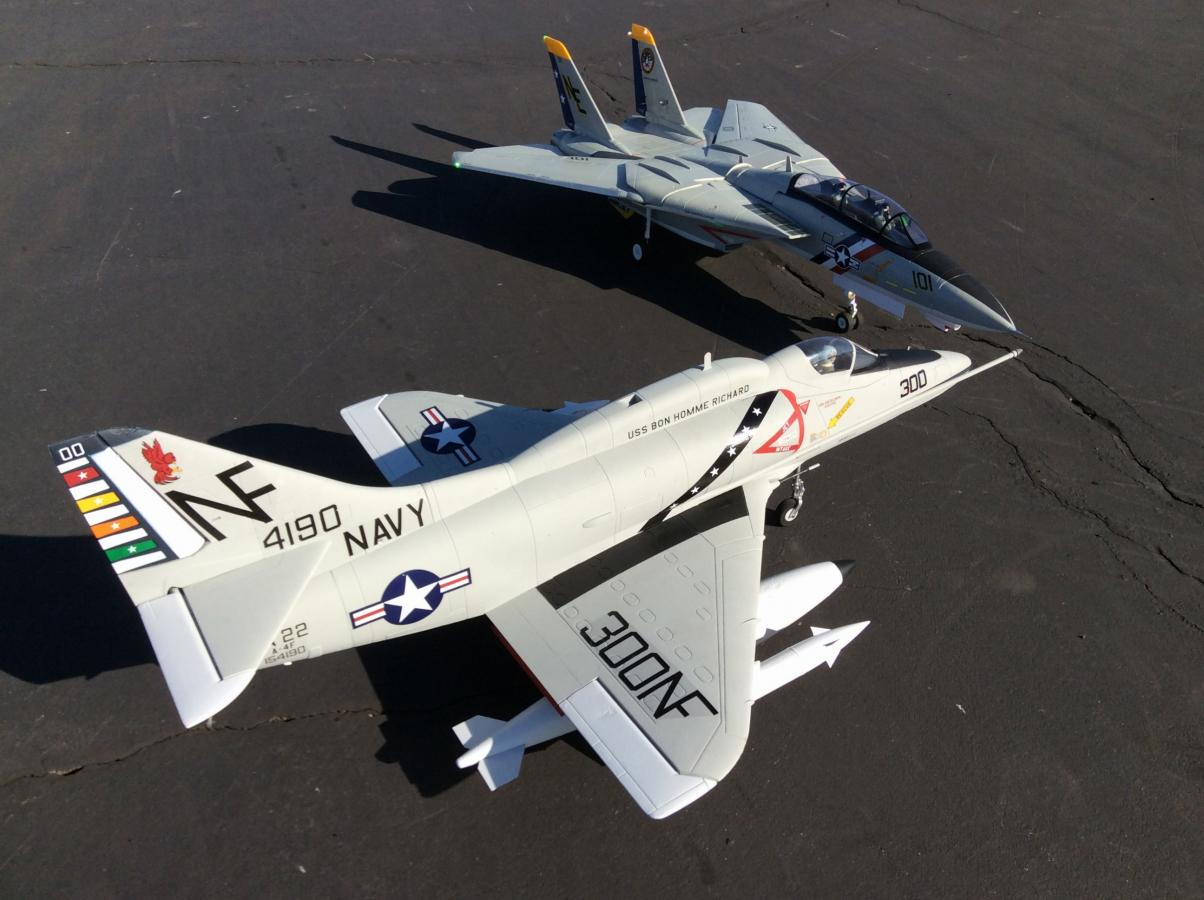 Freewing 80mm A-4 E/F with the Freewing F-14.