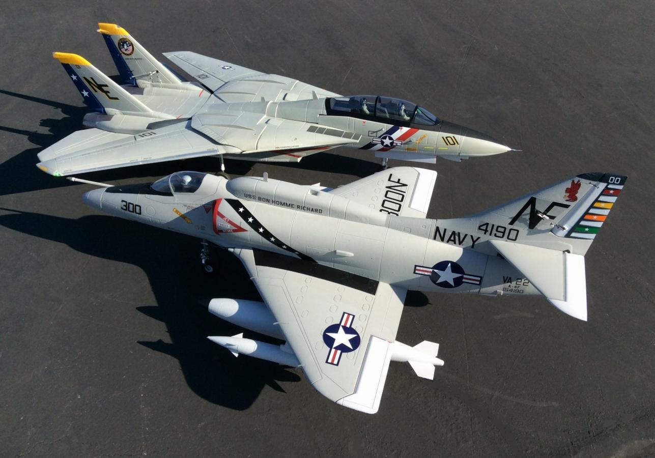 Freewing 80mm A-4 Skyhawk and F-14 Tomcat.