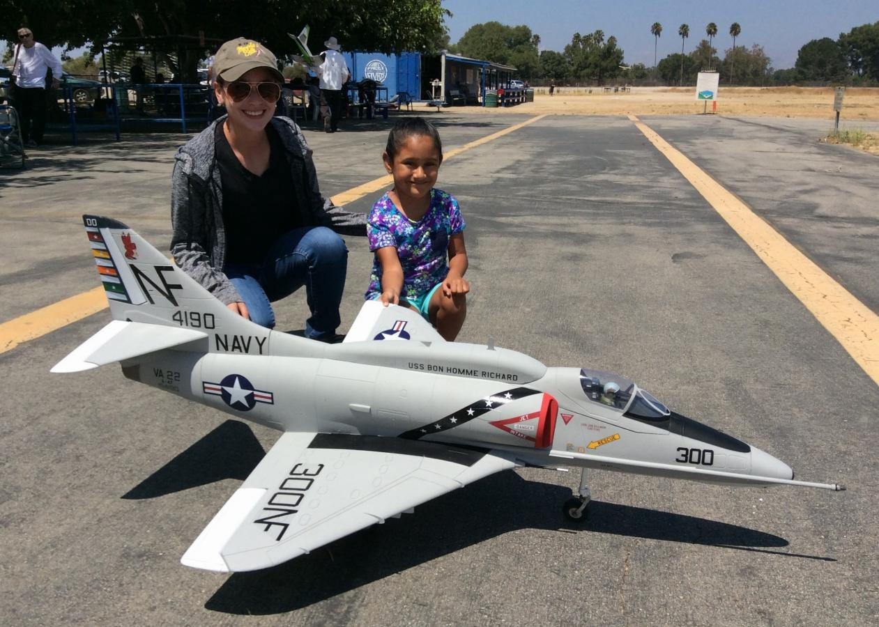 Pilot Evelyn with Fabiola holding the Freewing 80mm A-4 Skyhawk